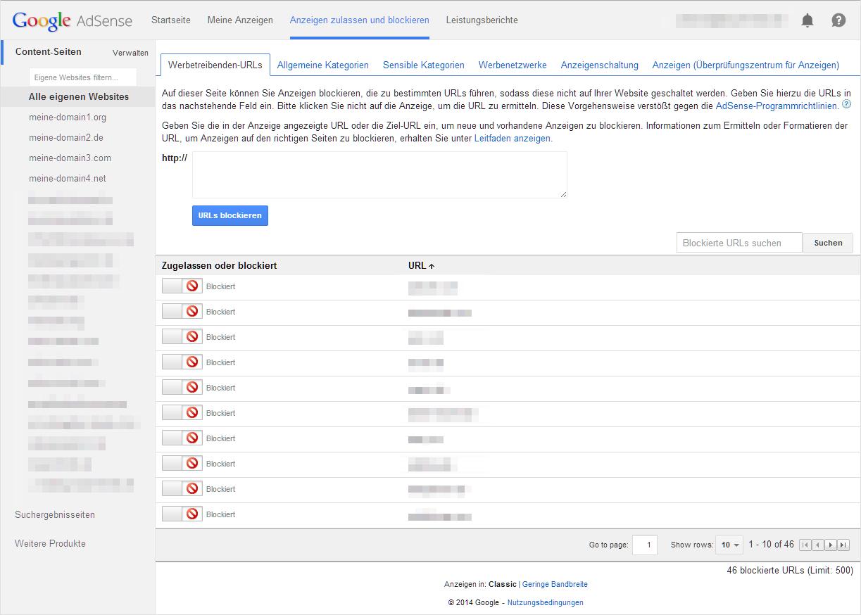 AdSense Anzeigen blockieren - Werbetreibenden-URLS