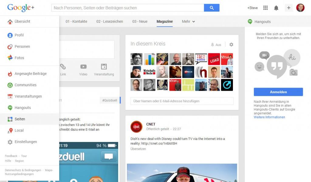Google+ Seiten über die Navigation erreichen