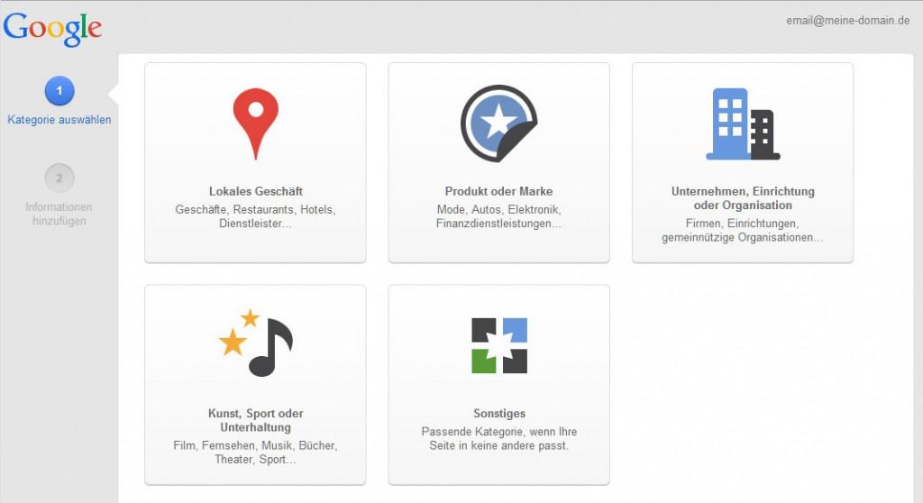 Kategorie der neuen Google+ Seite auswählen