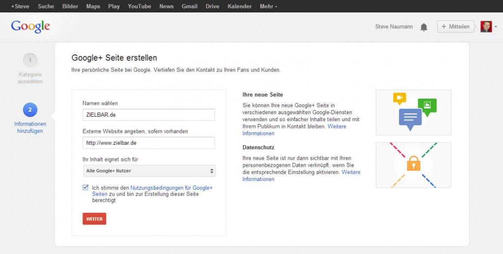 Der Google Plus Seite einen Namen geben und URL hinzufügen