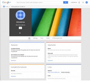 Google Plus Seite ist angeleget