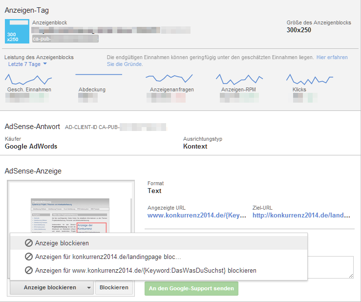 Anzeige über Google Publisher Toolbar blockieren