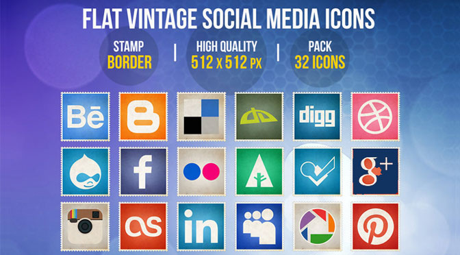 Flat-Vintage-Social-Media-Icons