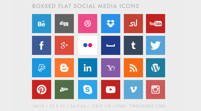 Free-Boxed-Social-Media-Icons-with-Flat-Design