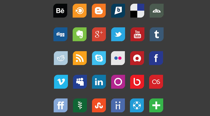Leaf-Flat-Design-Social-Media-Icon-Set