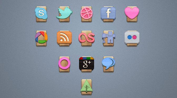 Wood-Social-Icons-Set-Vol-1