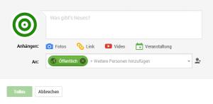 Google+ Beitrag öffentlich teilen