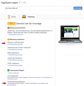 Google PageSpeed Insights Zielbar Start