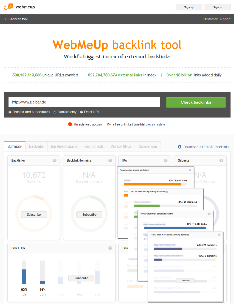 Backlink-Tool WebMeUp