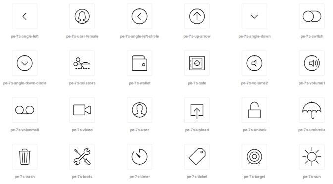 Icon Font Set Stroke 7