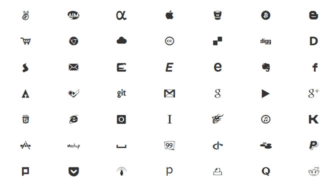 Zocial Icon Font und CSS3 Button Set
