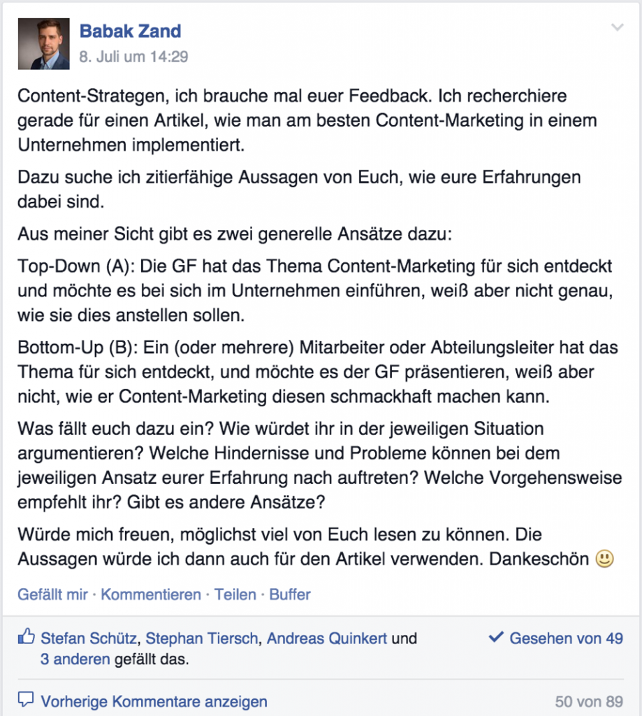 "Facebook-Kommunikation: ""Content Marketing in einem Unternehmen implementieren"""