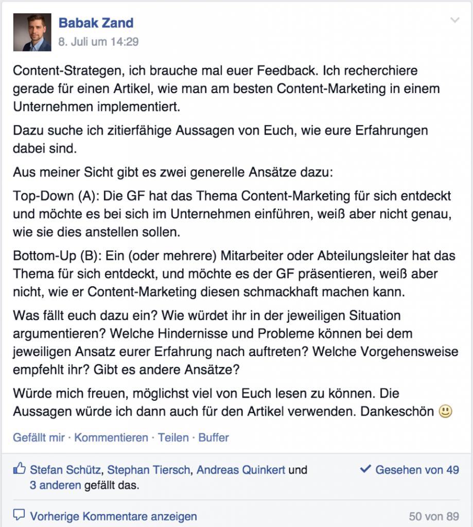 """Facebook-Kommunikation: """"Content Marketing in einem Unternehmen implementieren"""""""