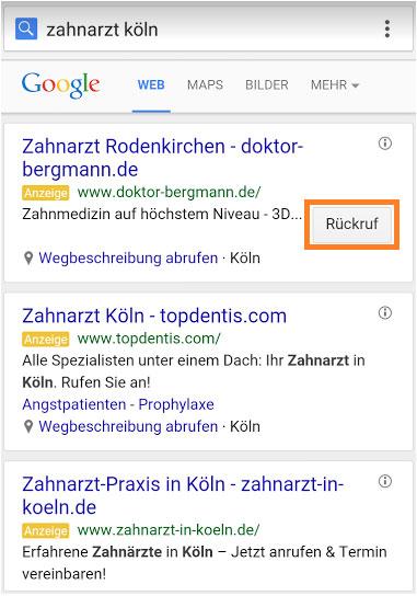 Anruf Erweiterung Anzeigentext Google AdWords