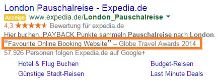 Bewertungserweiterung Anzeigentext Google AdWords