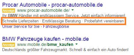 Erweiterung mit Zusatzinformationen Anzeigentext Google AdWords
