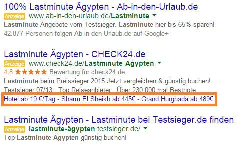 Sitelink-Erweiterung Anzeigentext Google AdWords