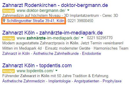 Standort-Erweiterung Anzeigentext Google AdWords