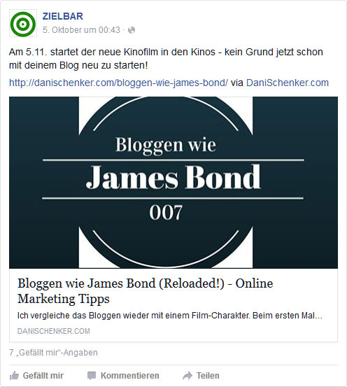 Facebook-Post: Bloggen wie James Bond