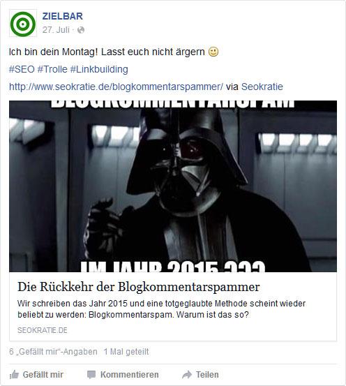 Facebook-Post: Rückkehr der Blogkommentarspammer
