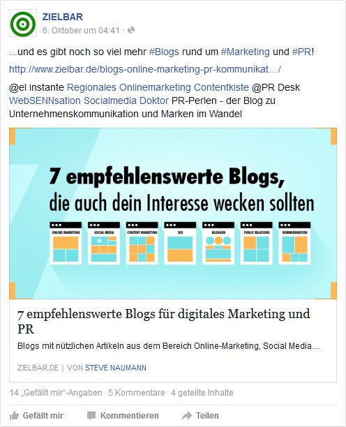 Facebook-Post: Empfehlenswerte Blogs für digitales Marketing und PR