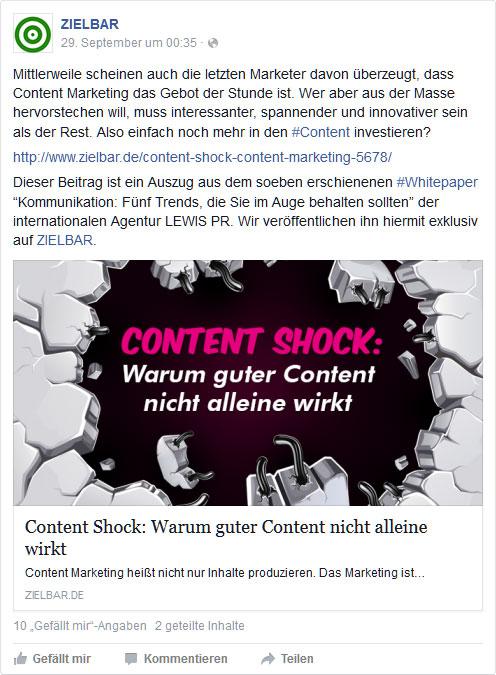 Facebook-Post: Content Shock - Warum Content alleine nicht ausreicht