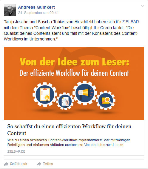 Facebook-Post: Content Workflow im Content Marketing