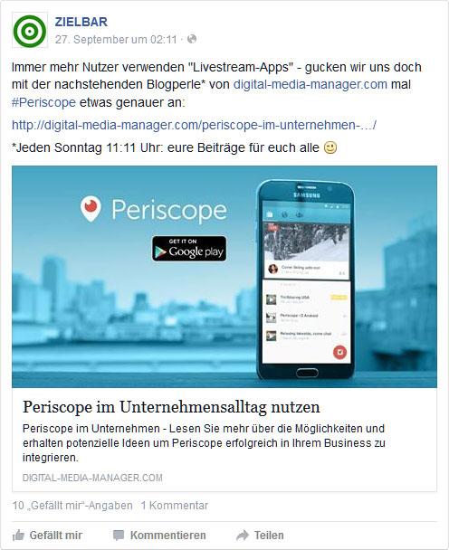 Facebook-Post: Periscope im Unternehmensalltag