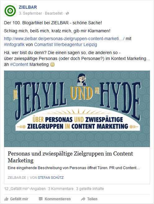 Facebook-Post: Personas im Content Marketing