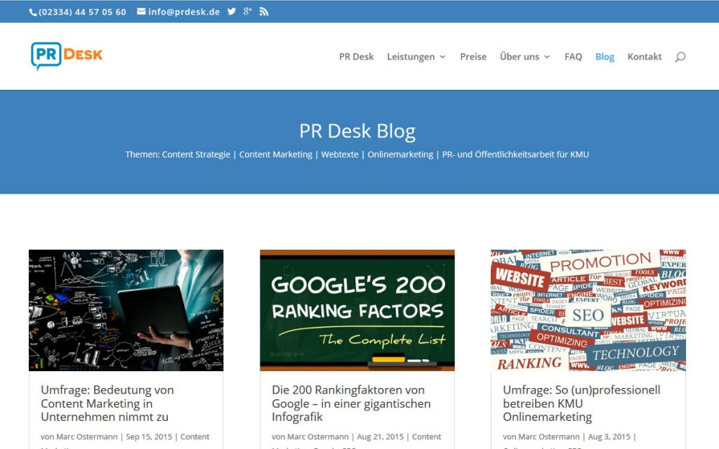 PR Desk - Content Marketing und PR