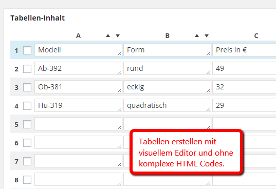 Tabellen erstellen in WordPress