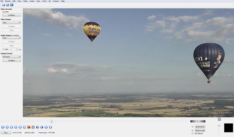 Screenshot Videoschnittsoftware Avidemux