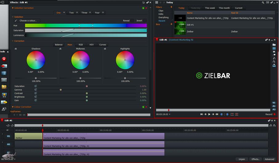 Screenshot Videoschnittsoftware Lightworks