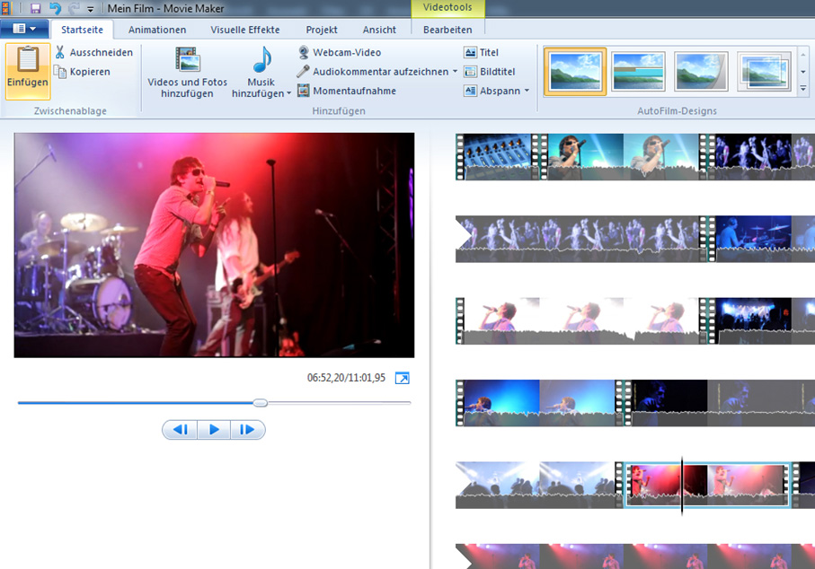 Screenshot Videoschnittsoftware Movie Maker