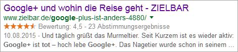 "Google-Snippet ""Google+ tot"""