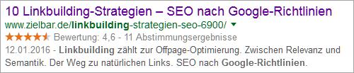 "Google-Snippet ""Linkbuilding Google Richtlinien"""