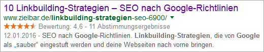 "Google-Snippet ""Linkbuilding Strategie Google"""