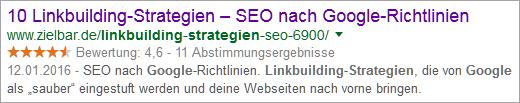 "Google-Snippet ""Linkbuilding Strategie Google"""