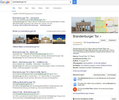 Google Entitäten-Box Brandenburger Tor