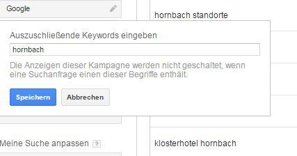 Google Keyword Planer Filter