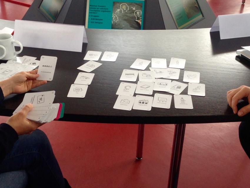 Channel Cards Workshop: Teilnehmer sortieren die ChannelCards nach vier Phasen