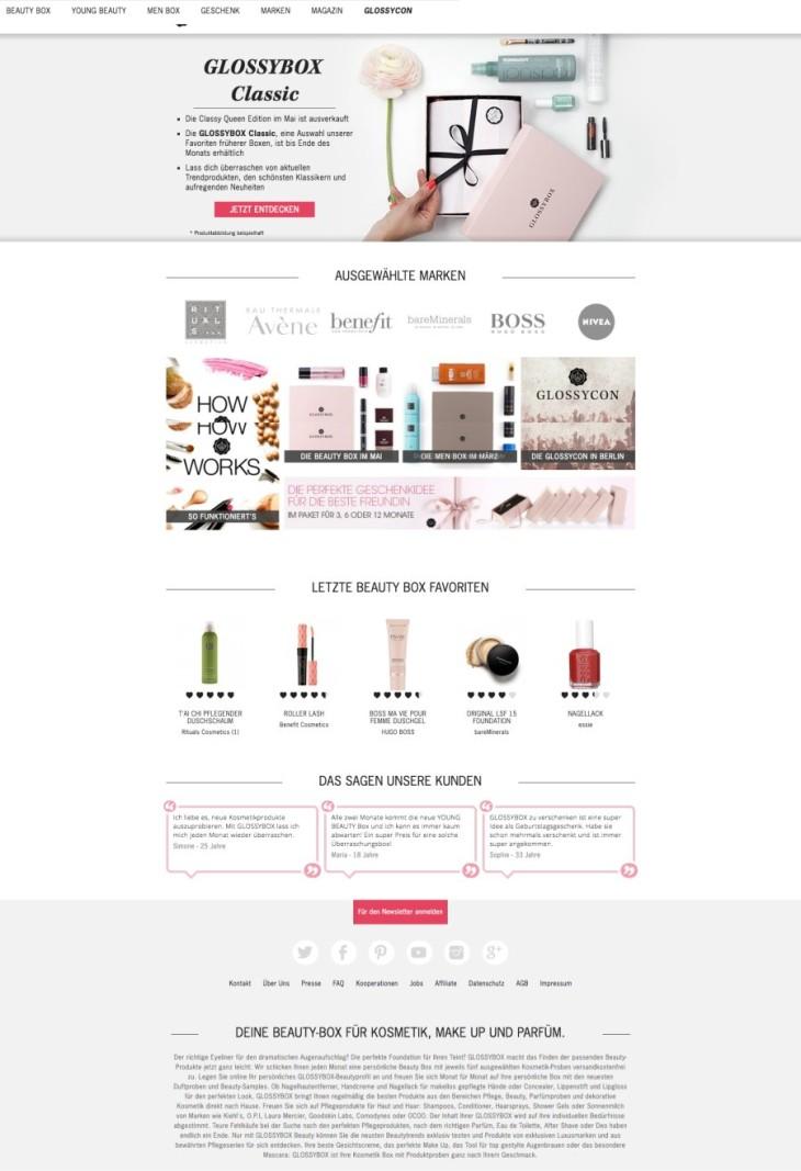 Beispiel Homepage Glossybox