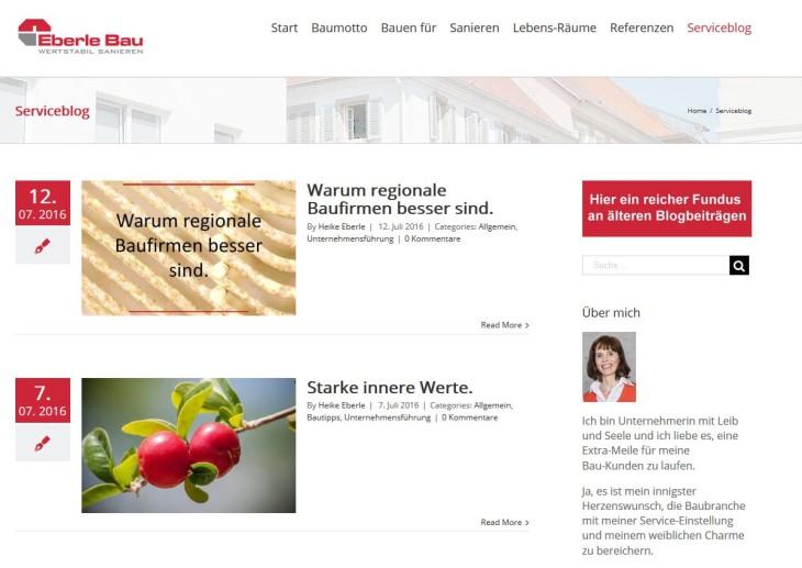 Beispiel Unternehmensblog Eberle Bau