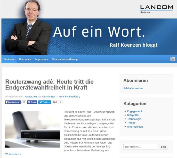 Unternehmensblog Beispiel Lancom
