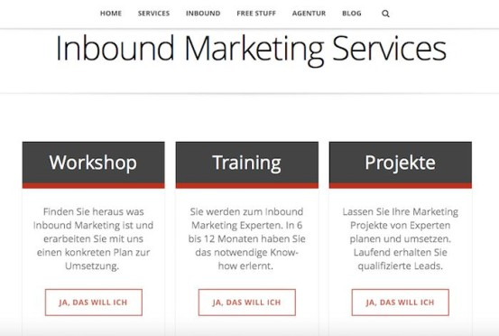 Inbound Marketing Services Screenshot