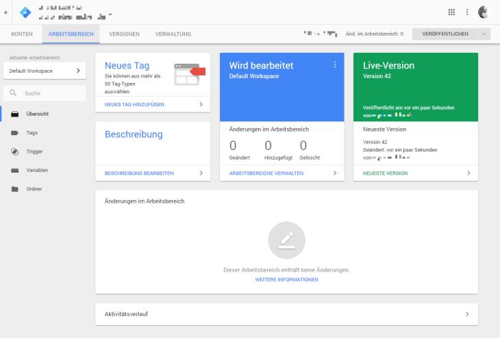 Google Tag Manager Adminoberfläche