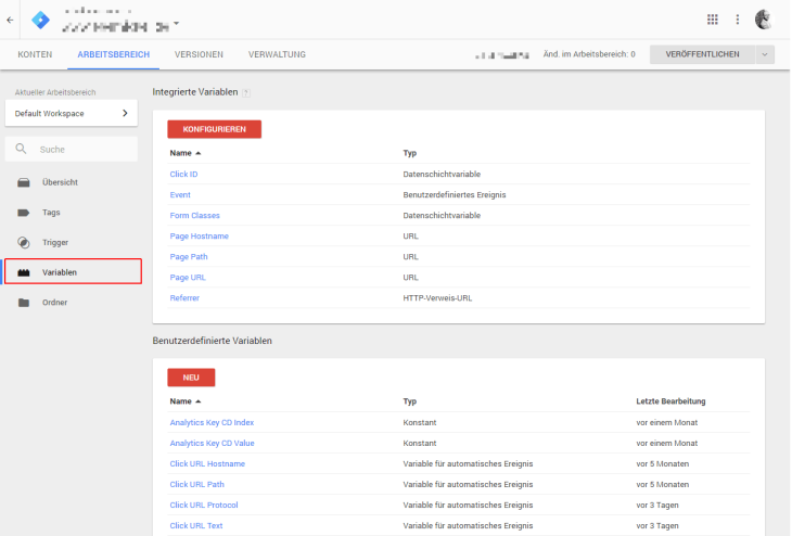 Google Tag Manager Variabeln