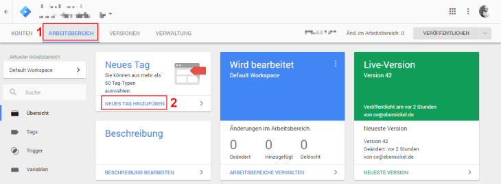 Google Tag Manager Arbeitsbereich