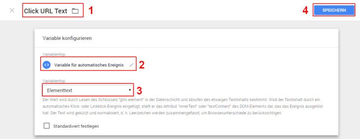Google Tag Manager benutzerdefinierte Variabeln