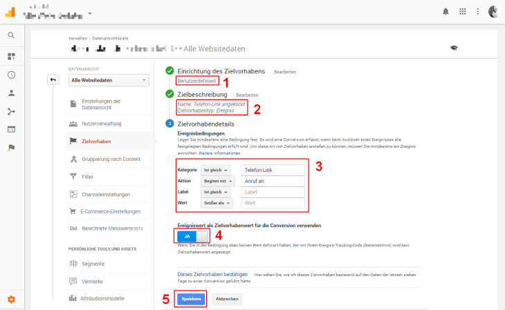 Google Tag Manager Definition Zielvorhaben